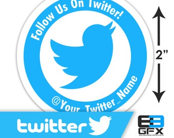 "Personalized! Follow Us On Twitter 2""x2"" Sticker Sheets - 20 Stickers Per Sheet - Includes your twitter address"