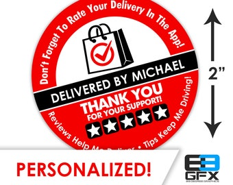 "Personalized! 2"" [ FIVE STAR ]  Delivery Driver Bag Stickers - 20 Stickers Per Sheet- Food Delivery"
