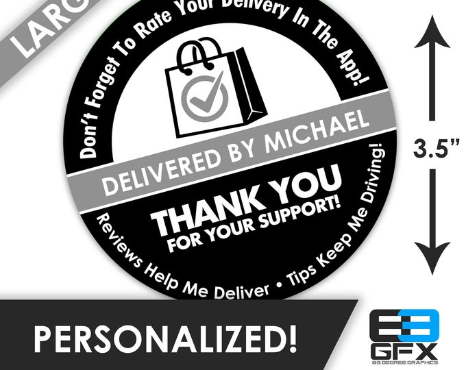 """LARGE Personalized! 3.5"""" [ 5 Star Bag ] Delivery Bag Stickers - 6 Stickers Per Sheet- Food Delivery"""