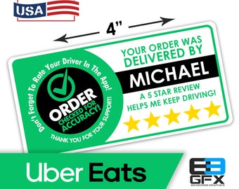 "Personalized! Uber Eats 4""x2"" 5 Star Rating Delivery Bag Stickers - 10 Stickers Per Sheet- Food Delivery"