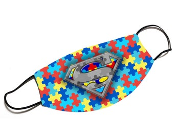 Autism Awareness SUPERMAN Face Mask - Face Cover - Multiple Sizes Available