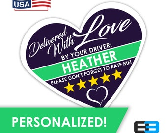 "PERSONALIZED - Heart 2.25"" [Delivered With Love] Delivery Bag Stickers - 15 Stickers Per Sheet- Food Delivery"