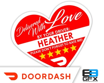 "PERSONALIZED - Doordash Heart 2.25"" [Delivered With Love] Delivery Bag Stickers - 15 Stickers Per Sheet- Food Delivery"