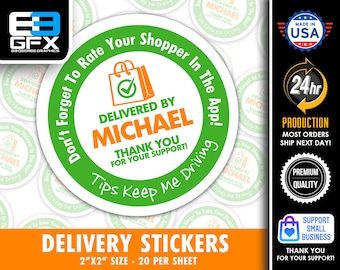 """Personalized! 2"""" [ Tips Keep Me Driving ] Delivery Driver Bag Stickers - 20 Stickers Per Sheet- Food Delivery"""