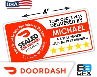 "Personalized! Doordash 4""x2"" [ Sealed For Delivery ] Delivery Driver Bag Stickers - 10 Stickers Per Sheet- Food Delivery"