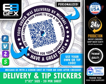 """Personalized! Delivery 2""""x2"""" """"DIRECT TIP"""" QR Code Delivery Bag Stickers - 20 Stickers Per Sheet"""
