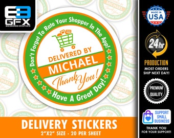 """Personalized! 2"""" [ Have A Great Day] Delivery Driver Bag Stickers - 20 Stickers Per Sheet- Food Delivery"""