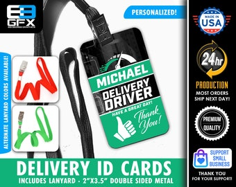 """Thumbs Up - Double Sided Delivery Metal Lanyard ID Card (Includes Colored Lanyard) 2""""x3.5"""""""