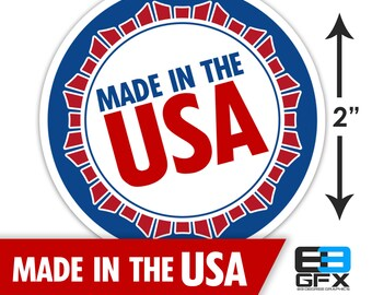 "Made In The USA Patriotic 2"" Glossy Stickers - 20 Stickers Per Sheet"