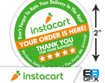 "Instacart 2""x2"" - 5 Stars - Delivery Bag Stickers - 20 Stickers Per Sheet- Food Delivery"