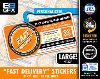 """Personalized!  """"FAST DELIVERY"""" 4""""x2"""" 5 Star Rating Delivery & Missing Items Bag Stickers - 10 Stickers Per Sheet- Food Delivery"""