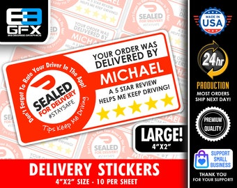 """Personalized! Doordash Themed Delivery 4""""x2"""" [ Sealed For Delivery ] Delivery Driver Bag Stickers - 10 Stickers Per Sheet- Food Delivery"""
