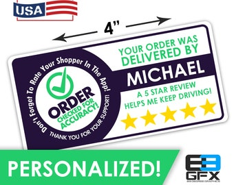 """Personalized! 4""""x2"""" [Order Checked] 5 Star Rating Delivery Shopper Bag Stickers - 10 Stickers Per Sheet- Food Delivery"""