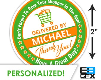 "Personalized! 2"" [ Have A Great Day] Delivery Driver Bag Stickers - 20 Stickers Per Sheet- Food Delivery"