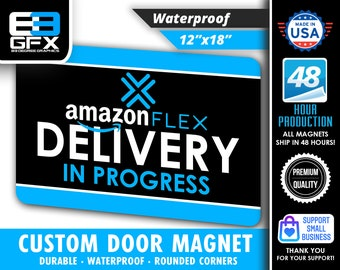 """PAIR of Amazon Flex Delivery Blue 12""""x18"""" Large Car Magnets (2 QTY)"""