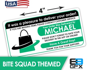 "Personalized! Bitesquad 4""x2"" [Bag Icon] Delivery Driver Bag Stickers - 10 Stickers Per Sheet- Food Delivery"