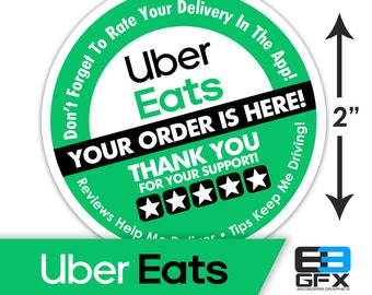 "Uber Eats 2""x2"" - 5 Stars - Delivery Bag Stickers - 20 Stickers Per Sheet- Food Delivery"