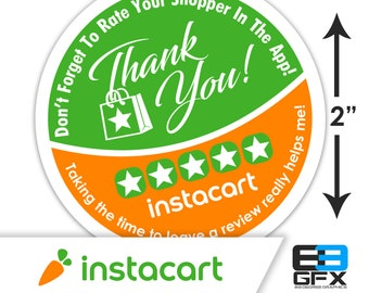 "Instacart 2""x2"" - Thank You - Delivery Bag Stickers - 20 Stickers Per Sheet- Food Delivery"