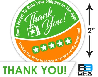 "2"" [Thank You & 5 Stars] Delivery Driver Bag Stickers - 20 Stickers Per Sheet- Food Delivery"