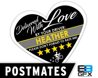 "PERSONALIZED - Postmates Heart 2.25"" [Delivered With Love] Delivery Bag Stickers - 15 Stickers Per Sheet- Food Delivery"