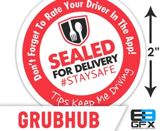"Grubhub 2""x2"" (Sealed For Delivery) Box/Bag Stickers - 20 Stickers Per Sheet- Food Delivery"