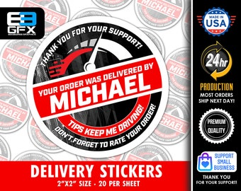 """Red Delivery Driver 2"""" [ Speed ] Delivery Driver Bag Stickers - 20 Stickers Per Sheet- Food Delivery"""