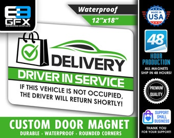 """PAIR of Generic Food & Grocery Delivery 12""""x18"""" Large Car Magnet - Greens (2 QTY)"""