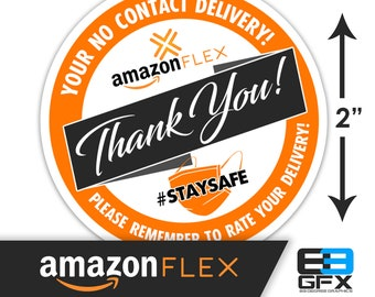 "Amazon Flex 2""x2"" - No Contact Delivery - Bag or Box Stickers - 20 Stickers Per Sheet - Food Delivery"