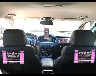 Uber / Lyft Ultimate Sign Set - Get More 5 Star Ratings & Tips - PINK