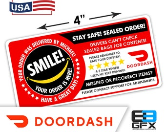 "Personalized! Doordash 4""x2"" 5 Star Rating Delivery & Missing Items Bag Stickers - 10 Stickers Per Sheet- Food Delivery"