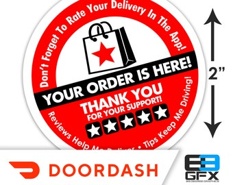 "Doordash 2""x2"" - 5 Stars - Delivery Bag Stickers - 20 Stickers Per Sheet- Food Delivery"