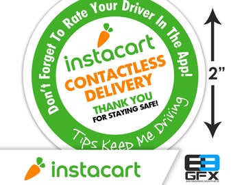 """Intstacart 2""""x2"""" Contactless Delivery Bag Stickers - 20 Stickers Per Sheet- Food Delivery"""