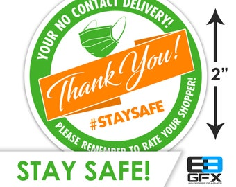 "2"" [ Stay Safe & Thank You] Delivery Driver Bag Stickers - 20 Stickers Per Sheet- Food Delivery"