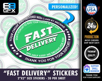"""Personalized! """"FAST DELIVERY"""" 2"""" Delivery Driver Bag Stickers - 20 Stickers Per Sheet- Food & Grocery Delivery"""