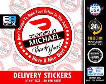 """Personalized! Doordash Themed Delivery 2"""" [ Have A Nice Day ] Delivery Driver Bag Stickers - 20 Stickers Per Sheet- Food Delivery"""