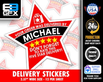 """PERSONALIZED Star 2.37"""" [5 STAR DELIVERY] Red Delivery Bag Stickers - 12 Stickers Per Sheet- Food Delivery"""