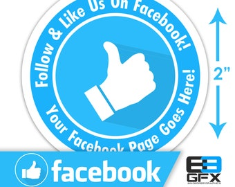 "Personalized! Follow & Like On Facebook 2""x2"" Sticker Sheets - 20 Stickers Per Sheet - Includes your facebook address"