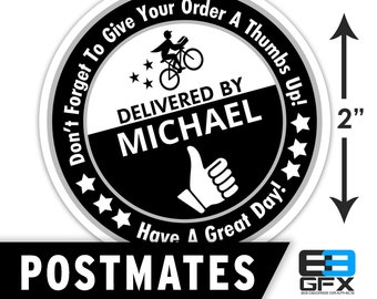 "Personalized! Postmates [ Thumbs Up ] 2""x2"" [ Have A Nice Day ] Delivery Bag Stickers - 20 Stickers Per Sheet- Food Delivery"
