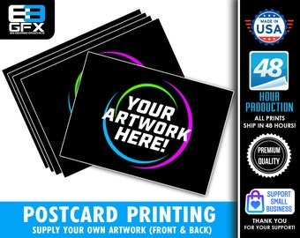 Postcard (Advertising Card) Single or Double Sided Printing - Matte Or Glossy - Use your own artwork! - Multiple Sizes Available!