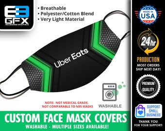 Uber Eats Face Mask Cover - Multiple Sizes Available - Lightweight - Breathable