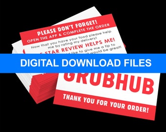 DIY - Grubhub Delivery Review Business Cards DIGITAL DOWNLOAD!