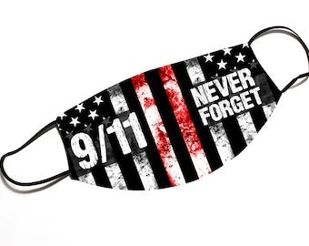 9/11 NEVER FORGET - Thin Red Line - Face Mask - Face Cover