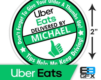 "Personalized! Uber Eats [ Thumbs Up ] 2""x2"" [ Tips Keep Me Driving ] Delivery Bag Stickers - 20 Stickers Per Sheet- Food Delivery"