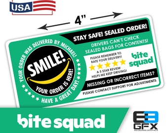 "Personalized! Bite Squad 4""x2"" 5 Star Rating Delivery & Missing Items Bag Stickers - 10 Stickers Per Sheet- Food Delivery"