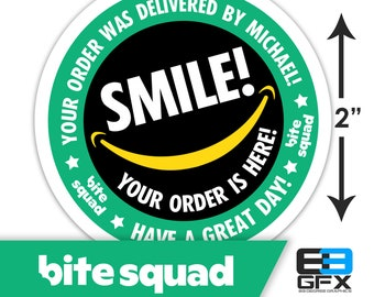 """Personalized! Bite Squad 2""""x2"""" """"Tips Keep Me Driving"""" Delivery Bag Stickers - Food Delivery"""