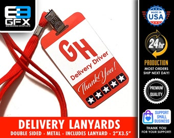 Grubhub Double Sided Delivery Lanyard Cards - Lanyard Included