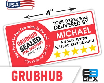 "Personalized! Grubhub 4""x2"" [ Sealed For Delivery ] Delivery Driver Bag Stickers - 10 Stickers Per Sheet- Food Delivery"