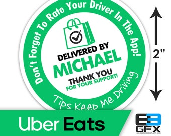 """Personalized! 2""""x2"""" """"Tips Keep Me Driving"""" Delivery Bag Stickers - 20 Stickers Per Sheet- Food Delivery - Uber Eats"""