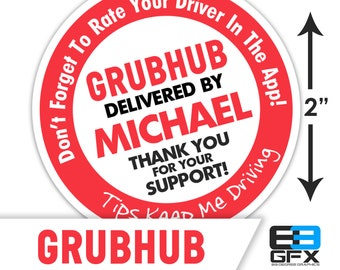 "Personalized! Grubhub 2""x2"" ""Tips Keep Me Driving"" Delivery Bag Stickers - 20 Stickers Per Sheet- Food Delivery"