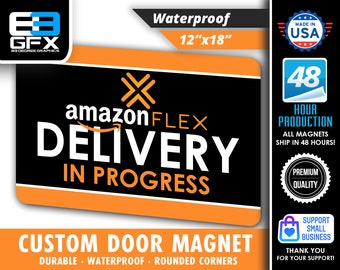 """PAIR of Amazon Flex Delivery 12""""x18"""" Large Car Magnets (2 QTY)"""
